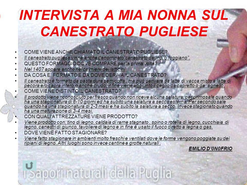 INTERVISTA A MIA NONNA SUL CANESTRATO PUGLIESE
