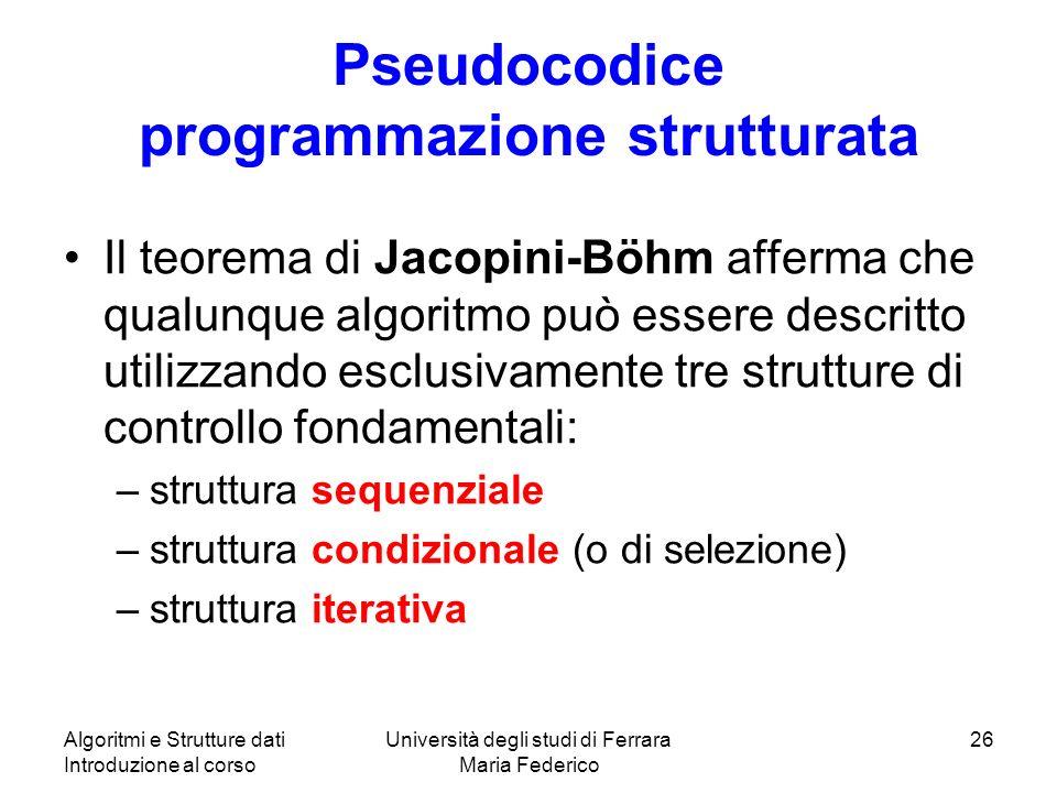 Pseudocodice programmazione strutturata