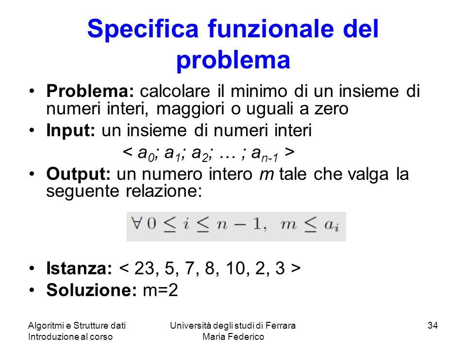Specifica funzionale del problema
