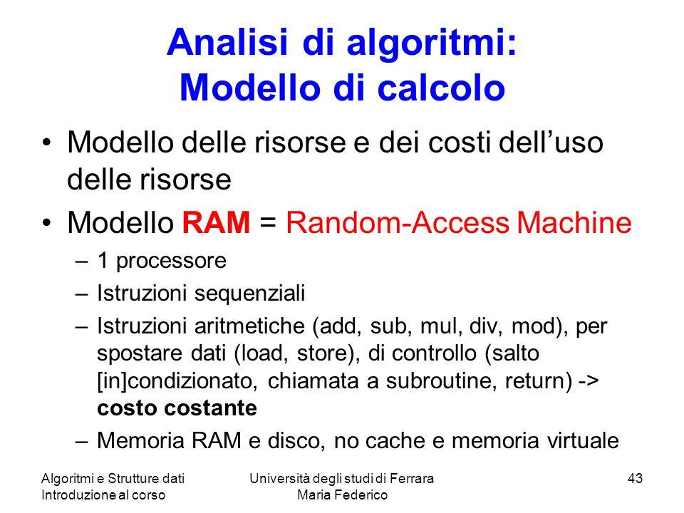 Analisi di algoritmi: Modello di calcolo