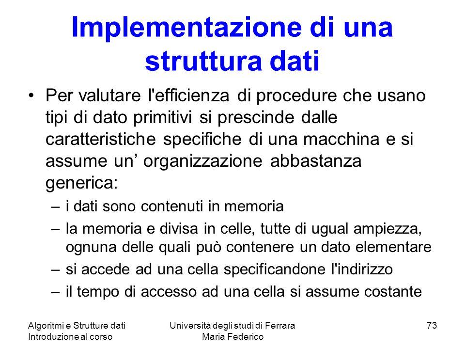 Implementazione di una struttura dati