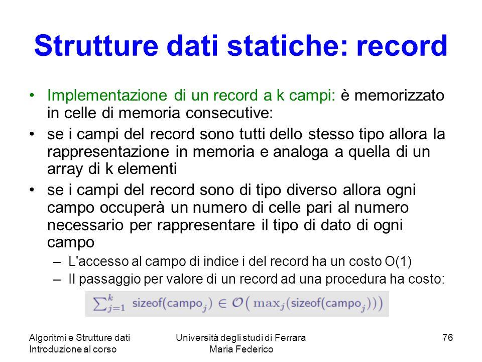 Strutture dati statiche: record