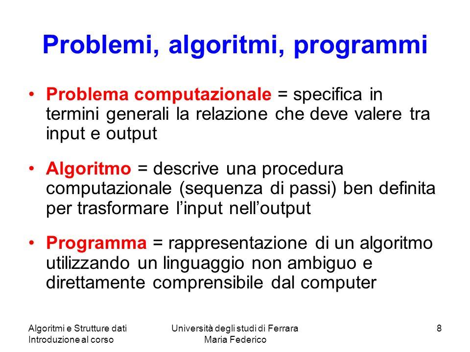 Problemi, algoritmi, programmi