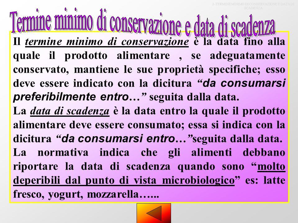 2-TERMINE MINIMO DI CONSERVAZIONE E DATA DI SCADENZA