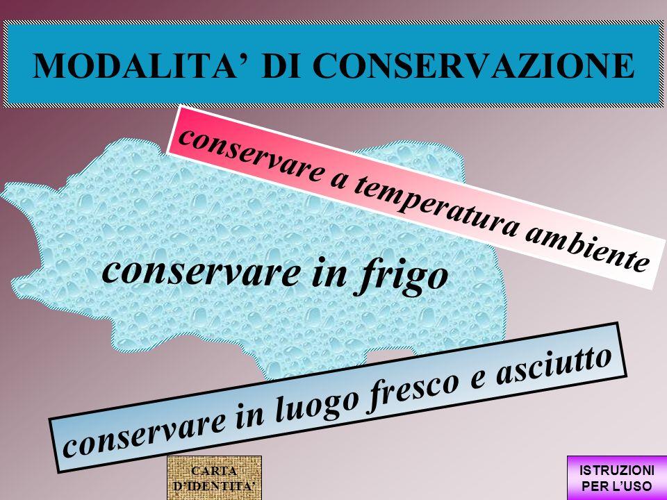 MODALITA' DI CONSERVAZIONE
