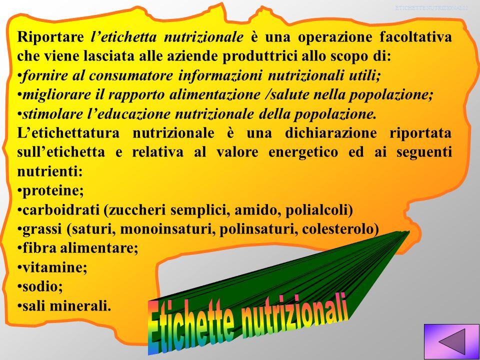 ETICHETTE NUTRIZIONALI 2