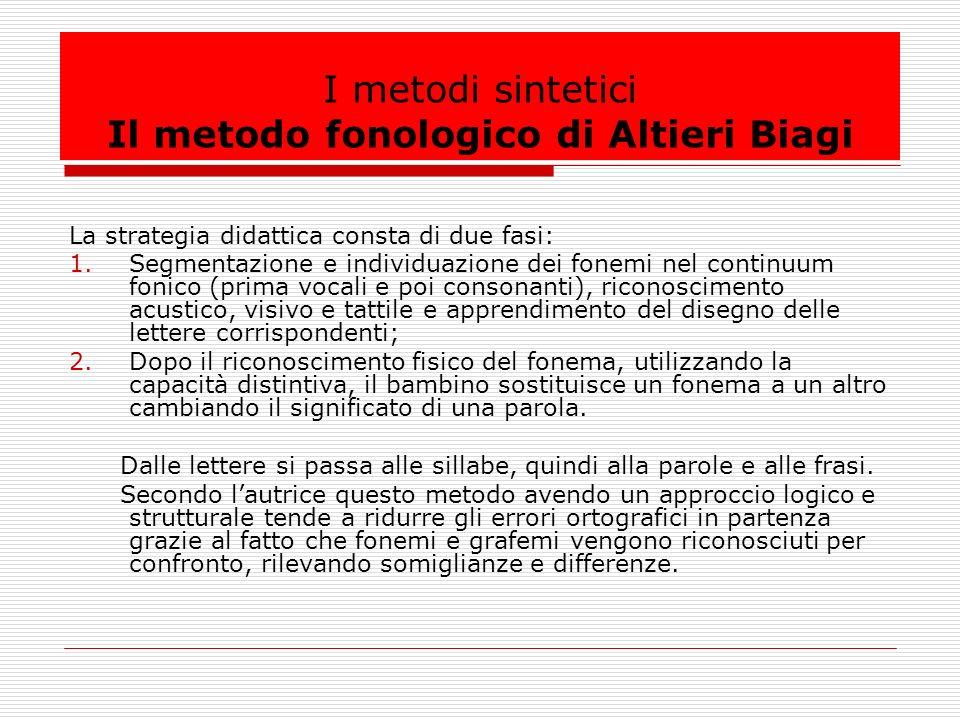 I metodi sintetici Il metodo fonologico di Altieri Biagi