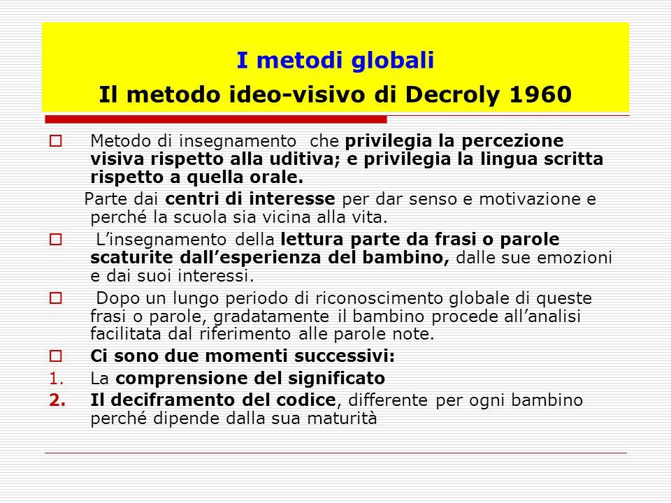 I metodi globali Il metodo ideo-visivo di Decroly 1960