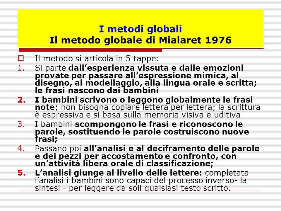 I metodi globali Il metodo globale di Mialaret 1976