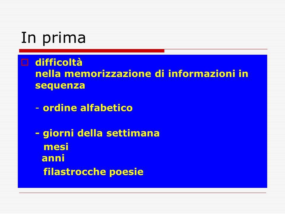 In prima difficoltà nella memorizzazione di informazioni in sequenza - ordine alfabetico. - giorni della settimana.