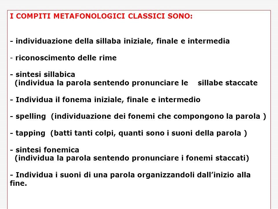 I COMPITI METAFONOLOGICI CLASSICI SONO: