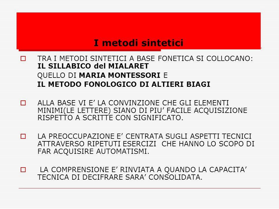 I metodi sintetici TRA I METODI SINTETICI A BASE FONETICA SI COLLOCANO: IL SILLABICO del MIALARET.