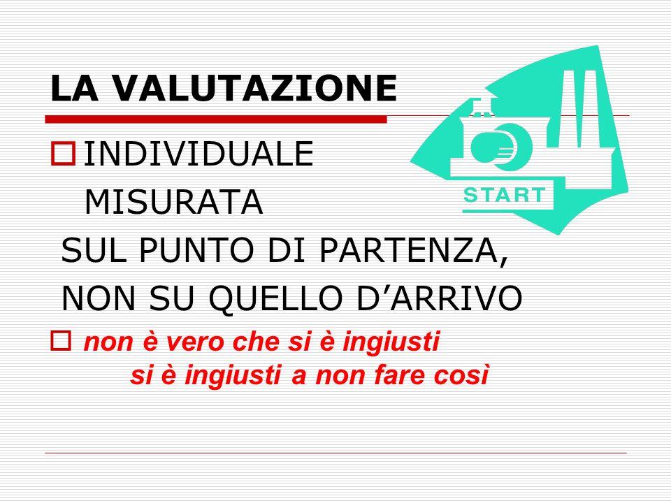 LA VALUTAZIONE INDIVIDUALE MISURATA SUL PUNTO DI PARTENZA,