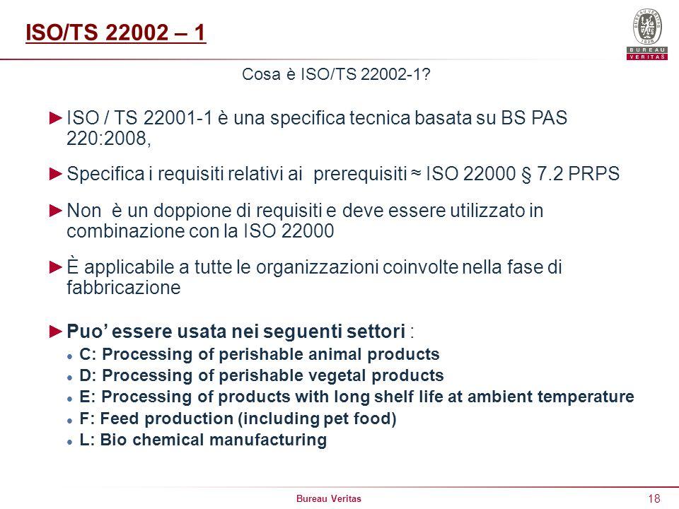 ISO/TS 22002 – 1 Cosa è ISO/TS 22002-1 ISO / TS 22001-1 è una specifica tecnica basata su BS PAS 220:2008,