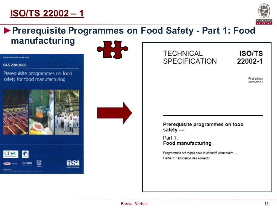 ISO/TS 22002 – 1 Prerequisite Programmes on Food Safety - Part 1: Food manufacturing