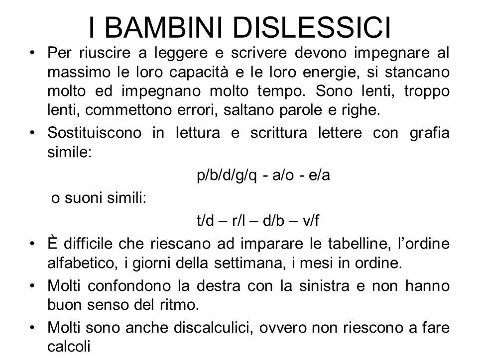 I BAMBINI DISLESSICI