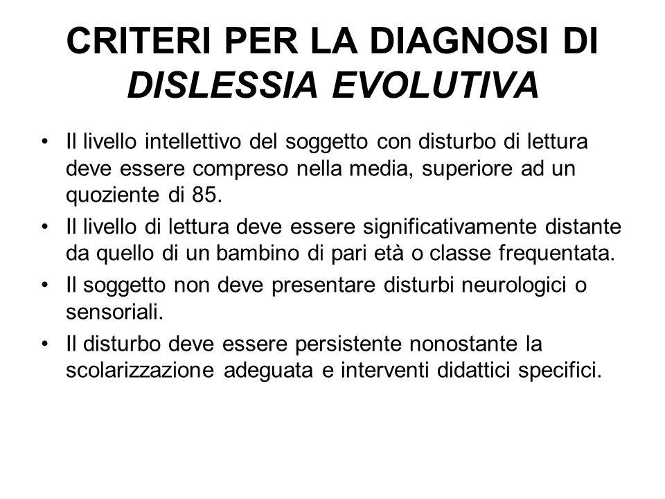 CRITERI PER LA DIAGNOSI DI DISLESSIA EVOLUTIVA