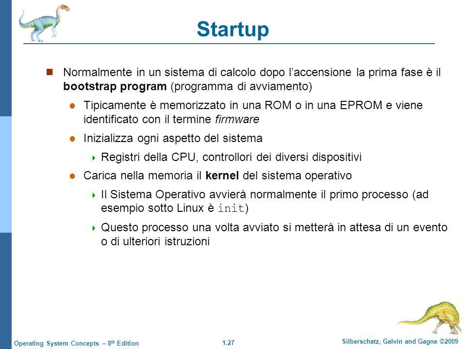 Startup Normalmente in un sistema di calcolo dopo l'accensione la prima fase è il bootstrap program (programma di avviamento)