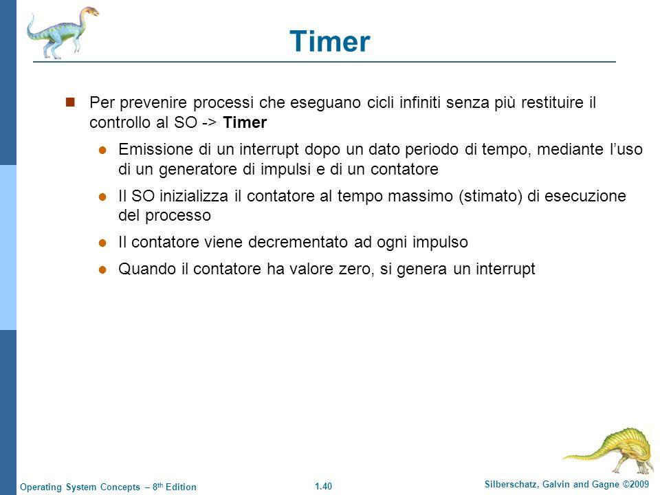 Timer Per prevenire processi che eseguano cicli infiniti senza più restituire il controllo al SO -> Timer.