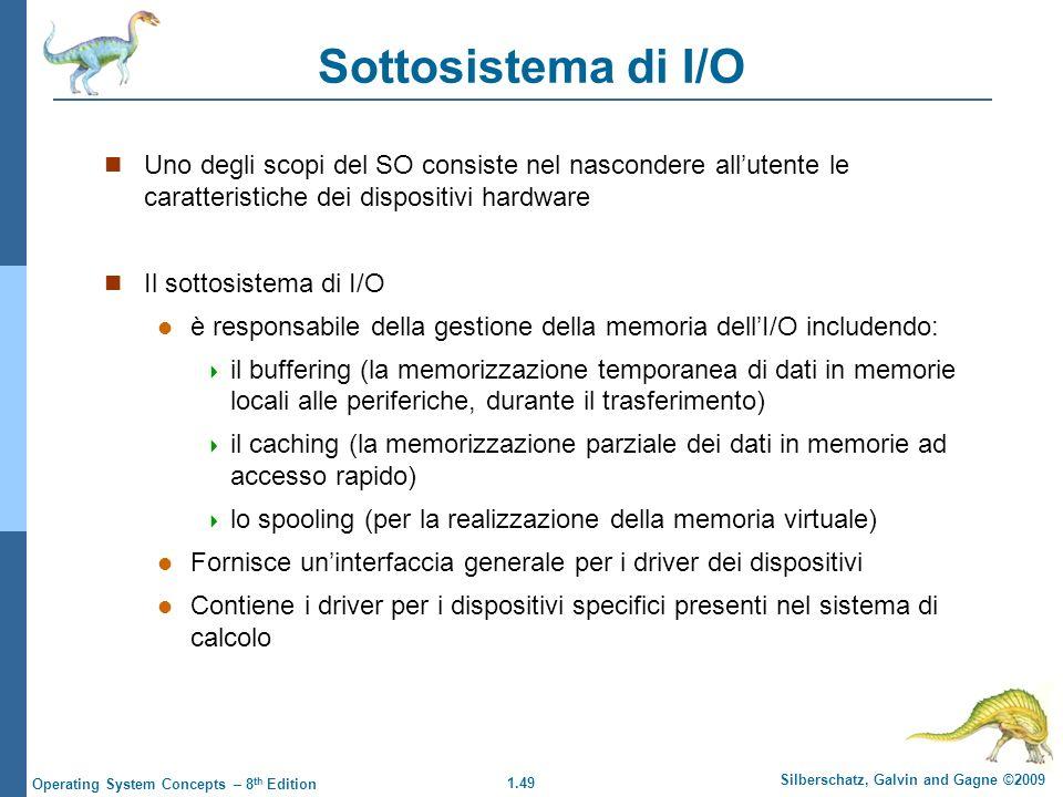 Sottosistema di I/O Uno degli scopi del SO consiste nel nascondere all'utente le caratteristiche dei dispositivi hardware.