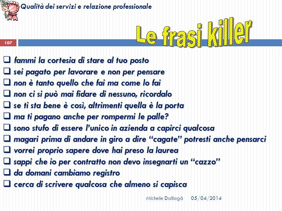 Le frasi killer fammi la cortesia di stare al tuo posto
