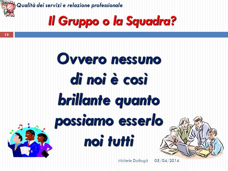 Il Gruppo o la Squadra Ovvero nessuno di noi è così brillante quanto possiamo esserlo noi tutti. Michele Dallagà.