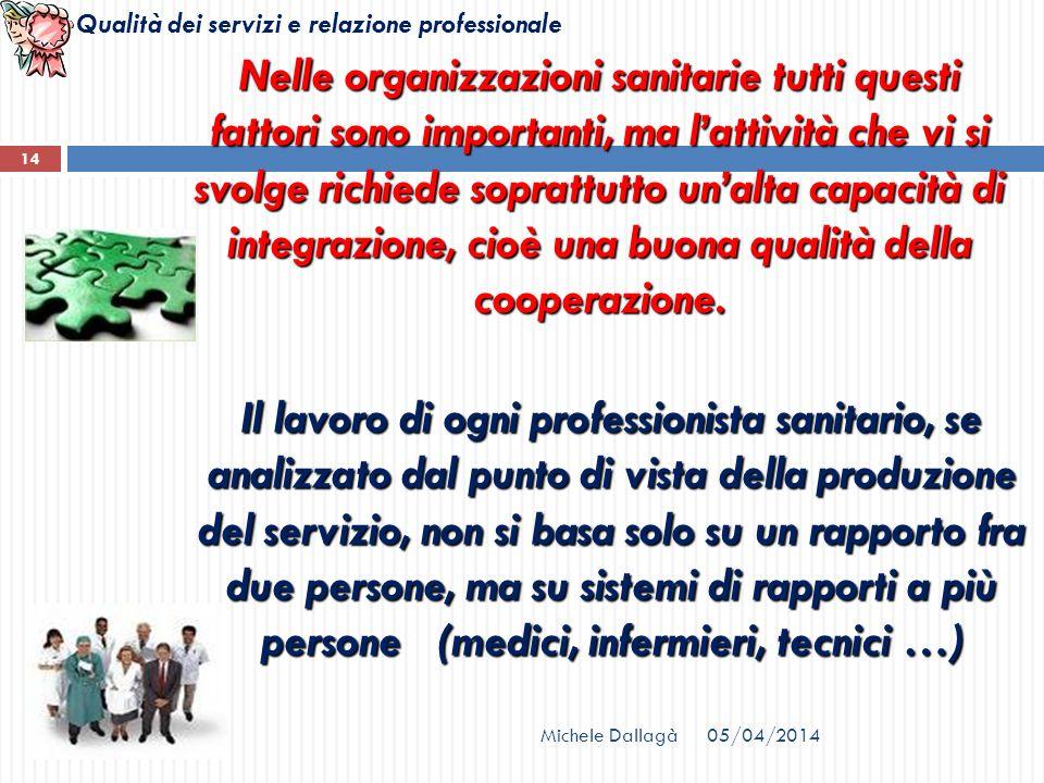 Nelle organizzazioni sanitarie tutti questi fattori sono importanti, ma l'attività che vi si svolge richiede soprattutto un'alta capacità di integrazione, cioè una buona qualità della cooperazione.
