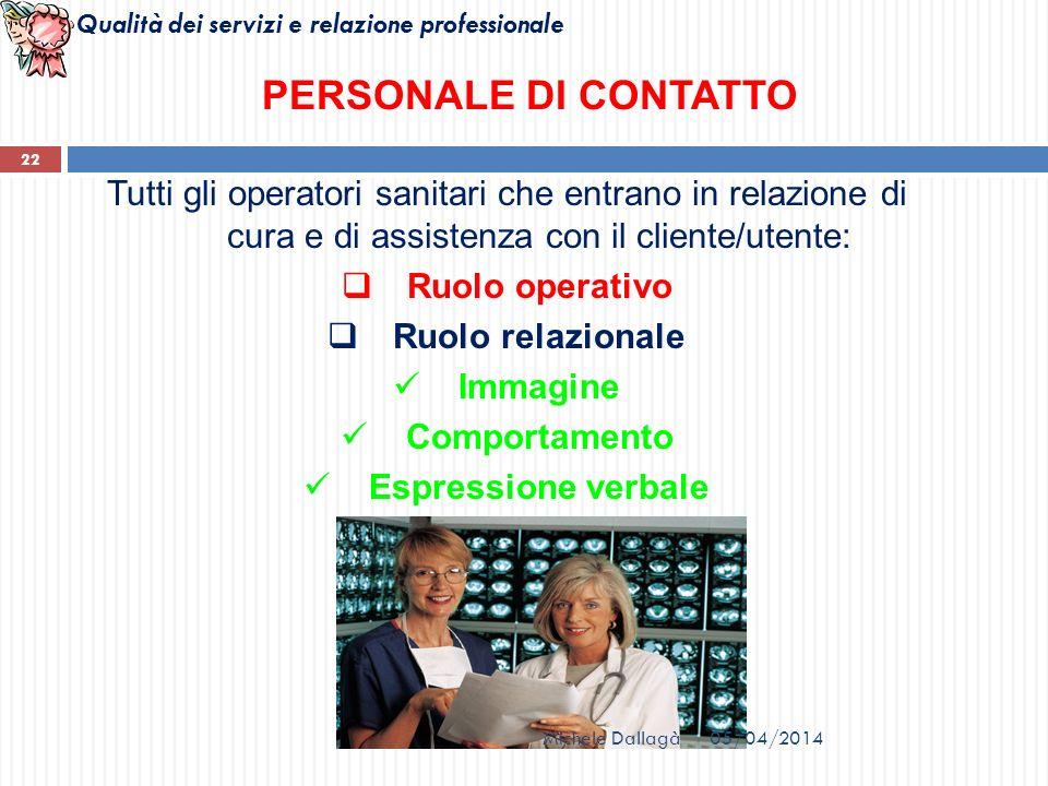 PERSONALE DI CONTATTO Tutti gli operatori sanitari che entrano in relazione di cura e di assistenza con il cliente/utente: