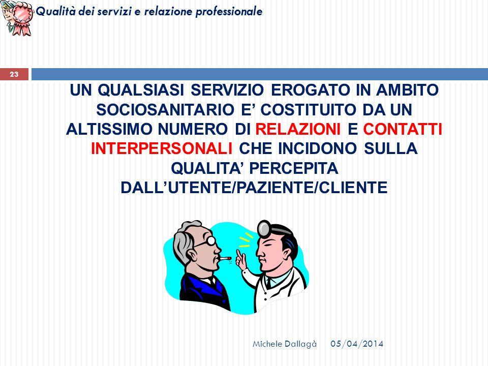 UN QUALSIASI SERVIZIO EROGATO IN AMBITO SOCIOSANITARIO E' COSTITUITO DA UN ALTISSIMO NUMERO DI RELAZIONI E CONTATTI INTERPERSONALI CHE INCIDONO SULLA QUALITA' PERCEPITA DALL'UTENTE/PAZIENTE/CLIENTE