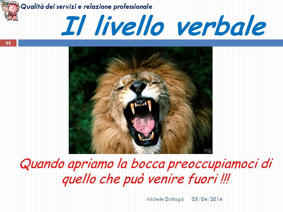 Il livello verbale Quando apriamo la bocca preoccupiamoci di quello che può venire fuori !!! Michele Dallagà.