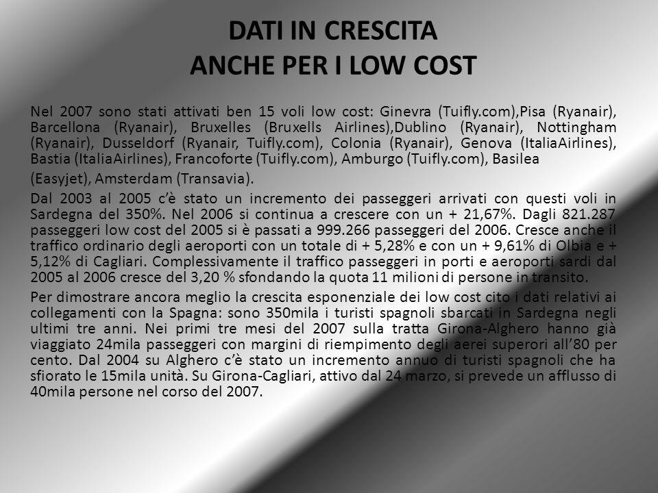 DATI IN CRESCITA ANCHE PER I LOW COST