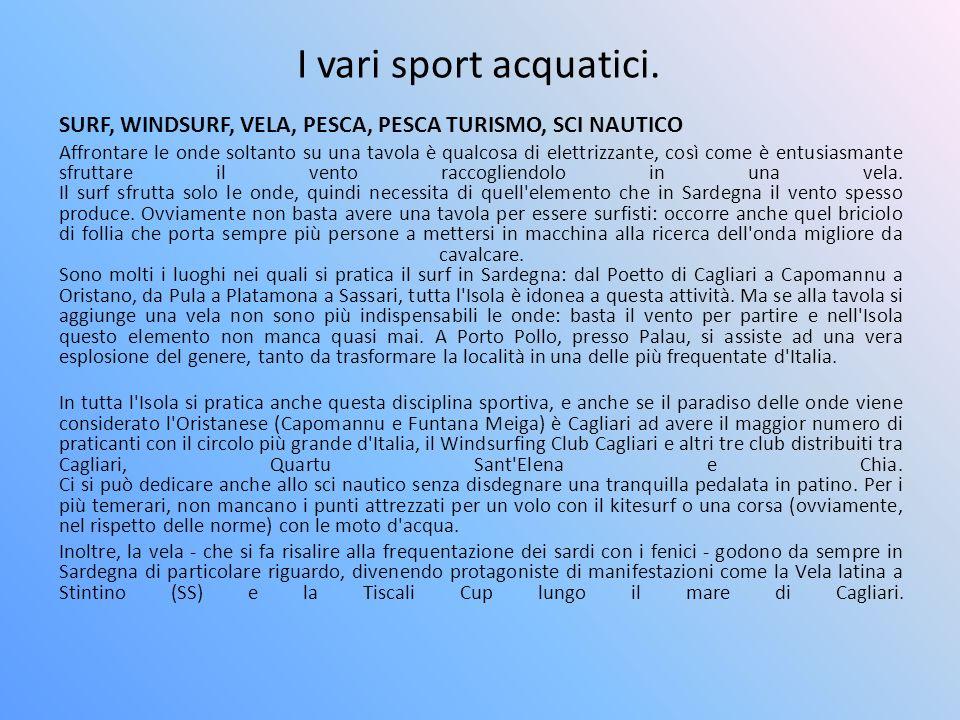 I vari sport acquatici. SURF, WINDSURF, VELA, PESCA, PESCA TURISMO, SCI NAUTICO.
