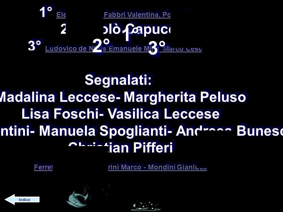1° 2° 3° 1° Elena Foschi, Fabbri Valentina, Poggi Eros