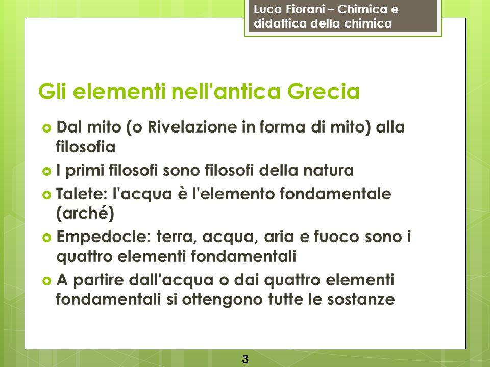 Gli elementi nell antica Grecia