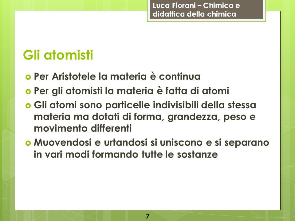 Gli atomisti Per Aristotele la materia è continua
