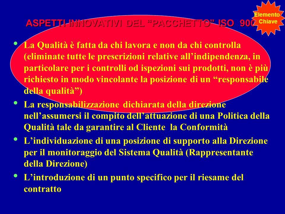 ASPETTI INNOVATIVI DEL PACCHETTO ISO 9000