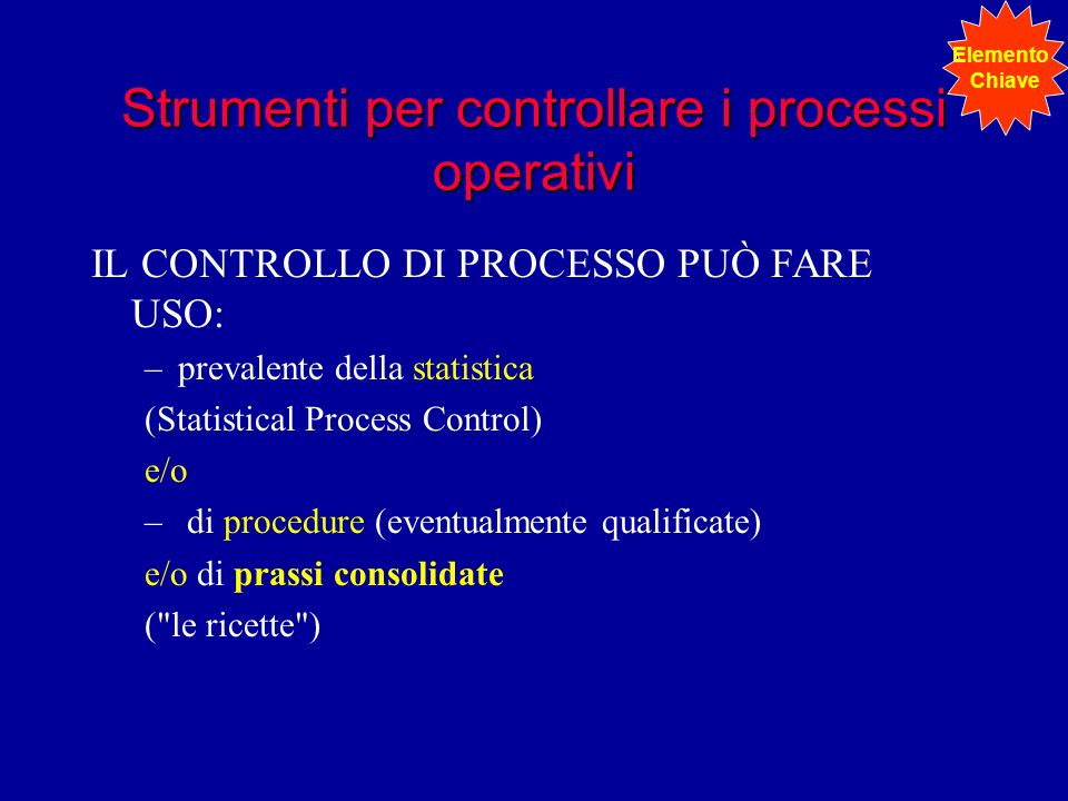Strumenti per controllare i processi operativi