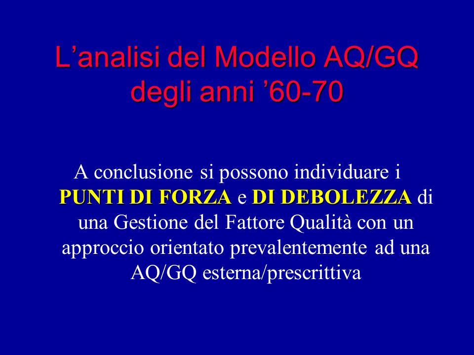 L'analisi del Modello AQ/GQ degli anni '60-70