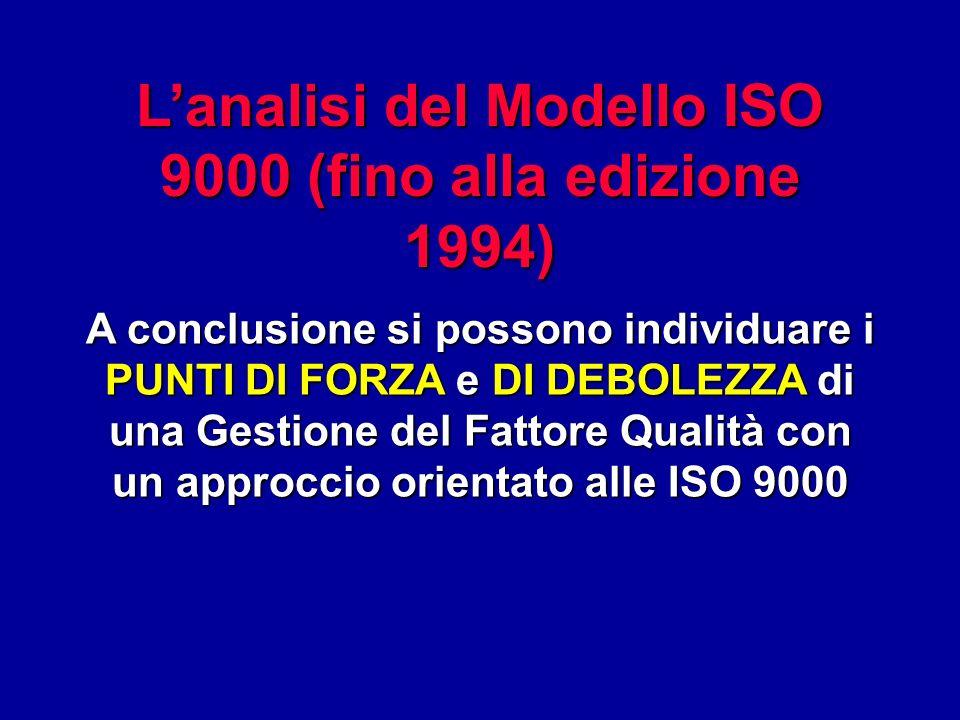 L'analisi del Modello ISO 9000 (fino alla edizione 1994)