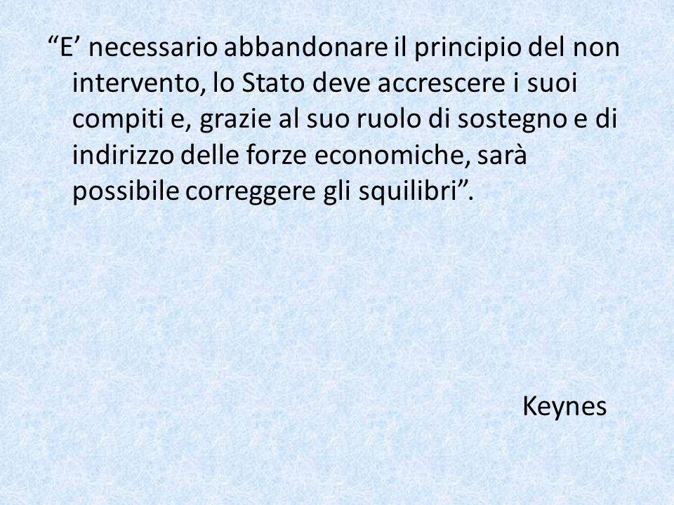 E' necessario abbandonare il principio del non intervento, lo Stato deve accrescere i suoi compiti e, grazie al suo ruolo di sostegno e di indirizzo delle forze economiche, sarà possibile correggere gli squilibri .