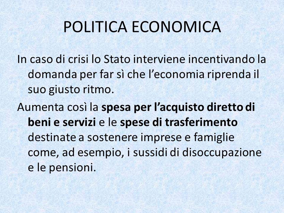 POLITICA ECONOMICA In caso di crisi lo Stato interviene incentivando la domanda per far sì che l'economia riprenda il suo giusto ritmo.
