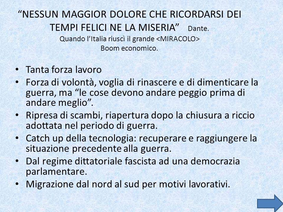NESSUN MAGGIOR DOLORE CHE RICORDARSI DEI TEMPI FELICI NE LA MISERIA Dante. Quando l'Italia riuscì il grande <MIRACOLO> Boom economico.