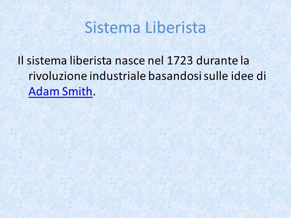Sistema Liberista Il sistema liberista nasce nel 1723 durante la rivoluzione industriale basandosi sulle idee di Adam Smith.