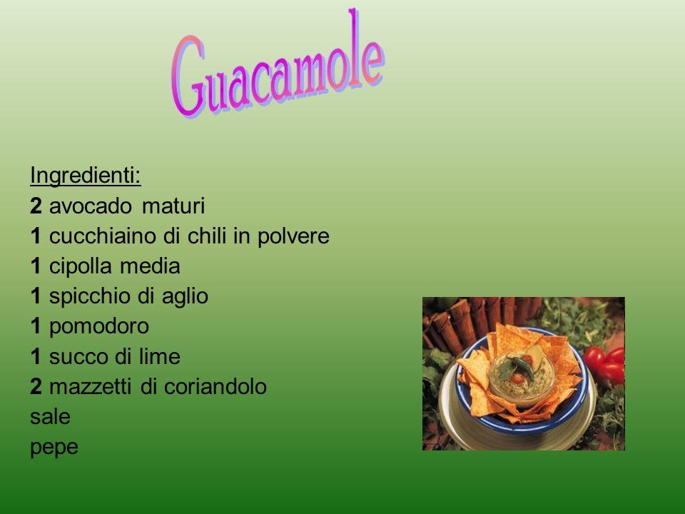 Guacamole Ingredienti: 2 avocado maturi