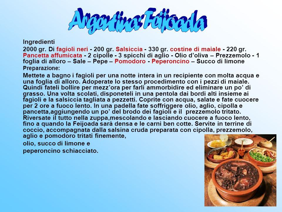 Argentina: Feijoada olio, succo di limone e Ingredienti