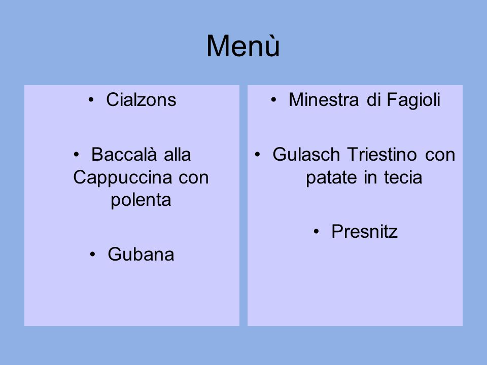 Menù Cialzons Baccalà alla Cappuccina con polenta Gubana