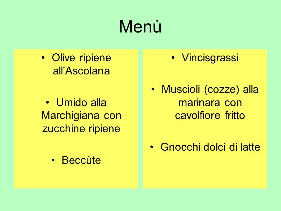 Menù Olive ripiene all'Ascolana
