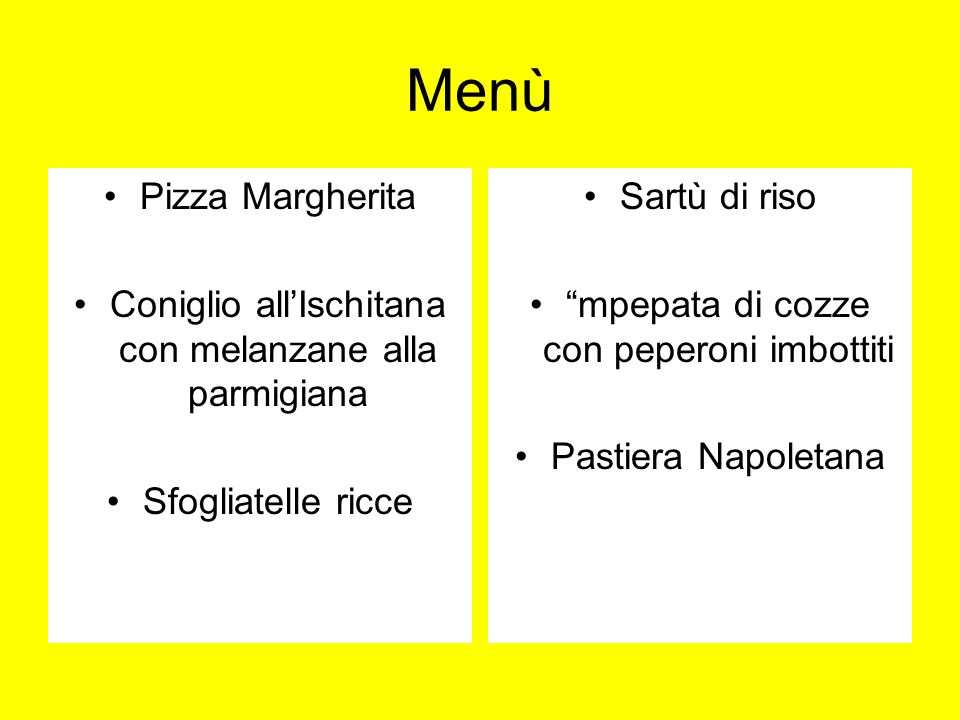 Menù Pizza Margherita. Coniglio all'Ischitana con melanzane alla parmigiana. Sfogliatelle ricce. Sartù di riso.
