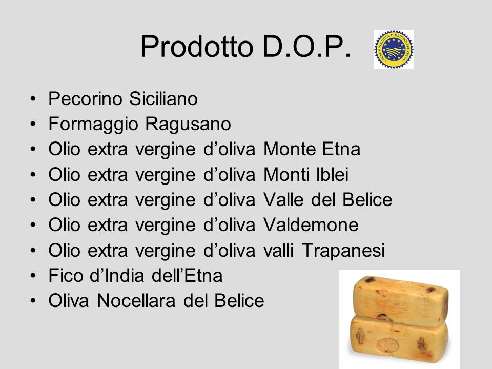 Prodotto D.O.P. Pecorino Siciliano Formaggio Ragusano