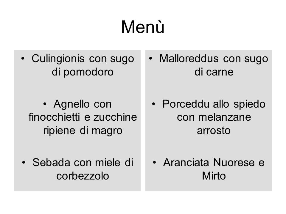 Menù Culingionis con sugo di pomodoro